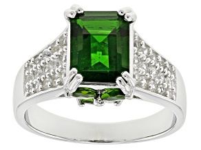 Green Chrome Diopside Rhodium Over Sterling Silver Ring 3.92ctw