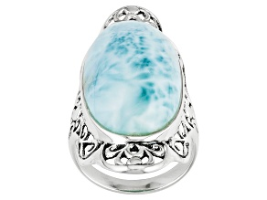 Womens Long Oval Statement Ring Blue Larimar Sterling Silver