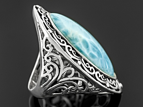 Womens Elongated Oval Solitaire Ring Blue Larimar Sterling Silver