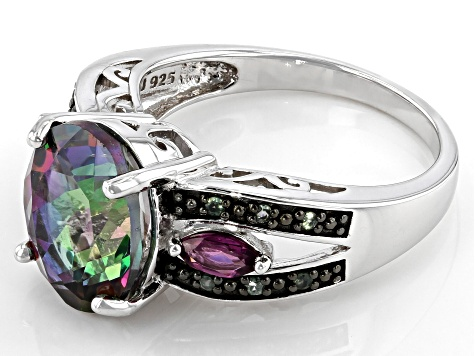 Mystic Topaz ® Rhodium Over Sterling Silver Ring 5.17ctw