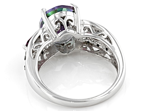 Mystic Topaz ® With Orissa Alexandrite And  Rhodolite ™ 5.17ctw Sterling Silver Ring