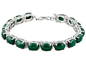 Green Malachite Rhodium Over Sterling Silver Bracelet