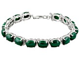 Green Malachite Rhodium Over Sterling Silver Bracelet