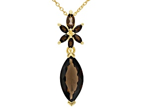 Brown smoky quartz 18k gold over silver pendant with chain 3.86ctw