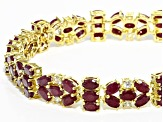 Red ruby sterling silver bracelet 26.99ctw