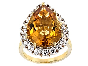 Golden Citrine 18k Yellow Gold Over Sterling Silver Ring 10.30ctw