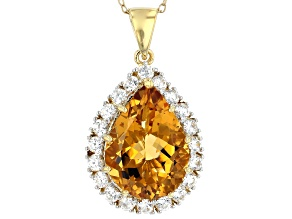 Golden Citrine 18k Yellow Gold Over Sterling Silver Pendant With Chain 10.30ctw
