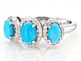 Blue Sleeping Beauty turquoise rhodium over sterling silver ring .33ctw
