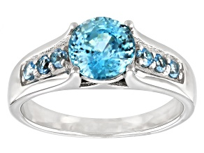 Blue Zircon Rhodium Over Silver Ring 1.63ctw
