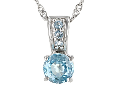 Blue Zircon Rhodium Over Silver Pendant with Chain 1.52ctw