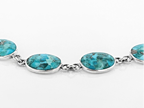 Blue turquoise rhodium over sterling silver bracelet