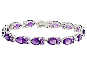 Purple amethyst rhodium over sterling silver bracelet 20.40ctw