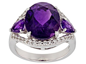 Purple amethyst rhodium over silver ring 5.99ctw