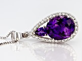Purple amethyst rhodium over silver pendant with chain 5.74ctw