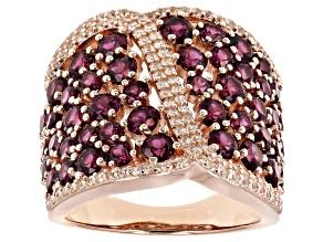 Raspberry color rhodolite 18k rose gold over silver ring 5.22ctw