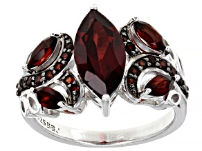 Red garnet rhodium over sterling silver ring 2.44ctw