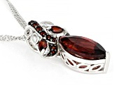 Red garnet rhodium over silver pendant with chain 2.25ctw