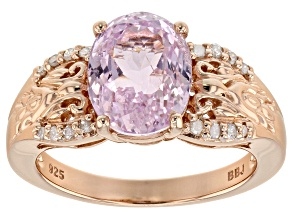 Pink kunzite 18k rose gold over sterling silver ring 3.71ctw