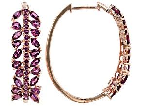 Raspberry color rhodolite 18k rose gold over silver earrings 8.36ctw