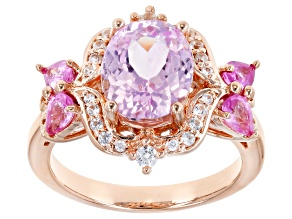 Pink Kunzite 18k Rose Gold Over Sterling Silver Ring 3.49ctw