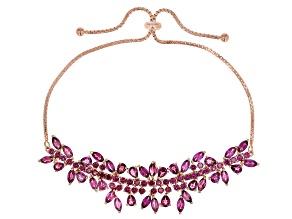 Raspberry color rhodolite 18k rose gold over silver bracelet 8.11ctw