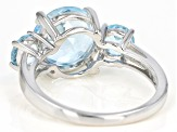 Sky blue topaz rhodium over sterling silver ring 5.13ctw