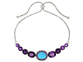 Blue turquoise rhodium over silver bolo bracelet 6.22ctw