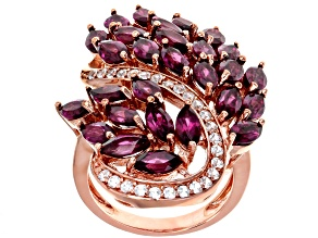 Purple Rhodolite 18k Rose Gold Over Sterling Silver Ring