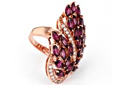Raspberry Color Rhodolite 18k Rose Gold Over Sterling Silver Ring