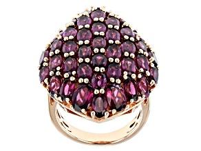 Purple Rhodolite 18k Rose Gold Over Sterling Silver Cluster Ring 11.74ctw