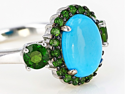 Blue turquoise rhodium over silver ring .80ctw