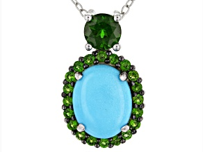 Blue turquoise rhodium over silver pendant with chain .81ctw