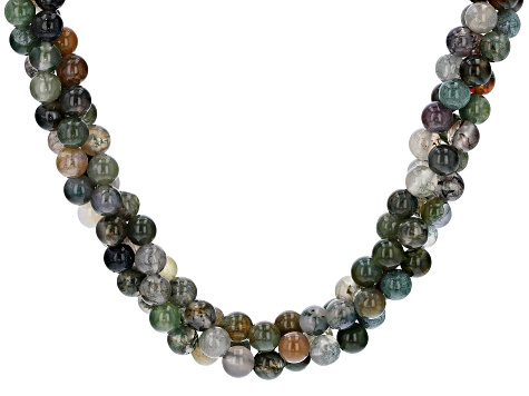Multi-color jasper sterling silver necklace