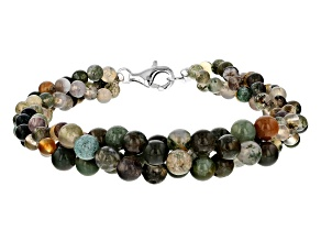 Multicolor jasper sterling silver bracelet