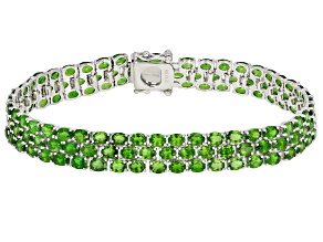 Green chrome diopside rhodium over sterling silver bracelet 20.00ctw