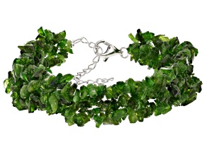 Green chrome diopside sterling silver woven bracelet