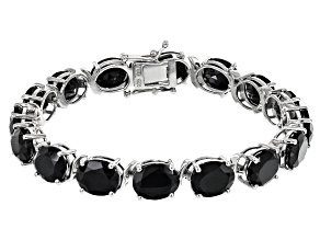 Black Spinel Rhodium Over Sterling Silver Bracelet 44.80ctw