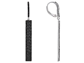 Black spinel rhodium over silver earrings 2.36ctw