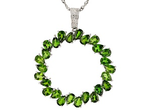 Green chrome diopside rhodium over silver pendant with adjustable chain 9.82ctw