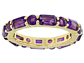 Purple amethyst 18k gold over silver eternity band ring. 2.96ctw