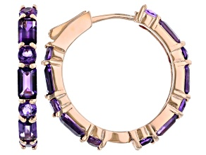 Purple Amethyst 18k Rose Gold Over Sterling Silver Hoop Earrings 4.19ctw