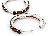 Red garnet rhodium over silver earrings 5.88ctw