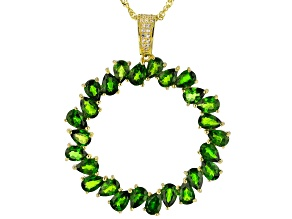 Green chrome diopside 18k gold over silver pendant with adjustable chain 9.82ctw