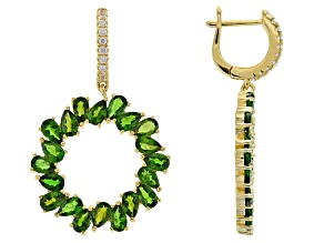 Green chrome diopside 18k gold over silver earrings 8.40ctw
