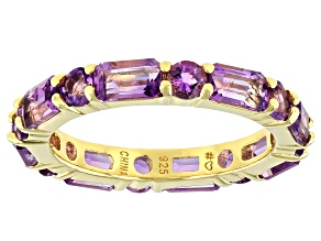 Purple Amethyst 18K Yellow Gold Over Sterling Silver Ring 2.99ctw