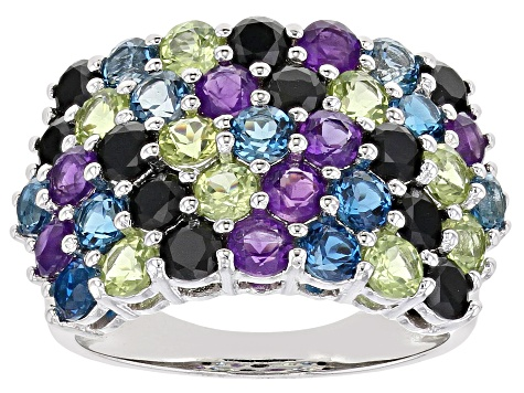 Multi-color gemstone rhodium over sterling silver ring 4.00ctw
