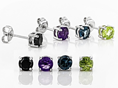 Multi-Gemstone rhodium over silver stud earrings 3.84ctw