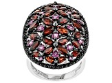 Red garnet rhodium over sterling silver ring 6.88ctw