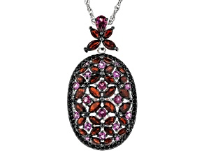 Red garnet rhodium over sterling silver pendant with chain 8.26ctw