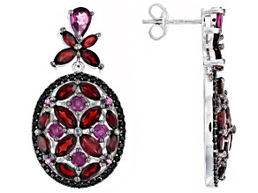 Red garnet rhodium over sterling silver dangle earrings 8.23ctw